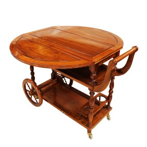 Solid Rosewood Drop Leaf Tea Trolley / Serving Cart Natural Finish LK93-000455C3