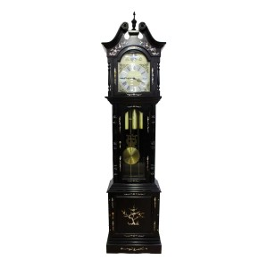Rosewood Grandfather Clock Triple Chime  Mother Of Pearls Inlaid Dark Red Cherry LK94-000154A
