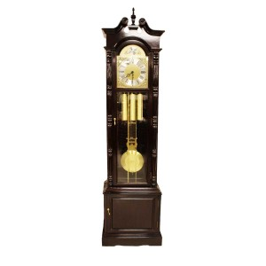 Rosewood Grandfather Clock With 3 Side Glass Cabinet  Dark Cherry LK94-000454