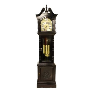 Rosewood Triple Chime Grandfather Clock With Bottom Cabinet Dark Red Cherry  LK94-00144A