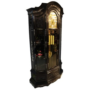 Rosewood Curio Grandfather Clock With Mother of Pearls Inlaid Dark Cherry  LK94-000654C.35