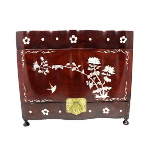 Oriental Rosewood Jewelry Box with Mother Of Pearls Inlaid Open Three Side for Jewelry and Precious Ornaments Cherry Finish with Gold Brass Metal Hinges CBJB-001