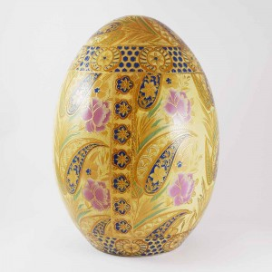 Vintage Satsuma In Floral Decorated Porcelain Egg 10 Inch Gold And Pink Color CHE10-01