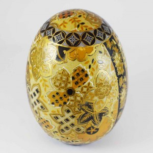 Vintage Chinese Satsuma Decorated Porcelain Egg 6 Inch Gold Color CHE6-01