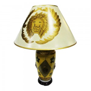 Oriental Porcelain Table Lamp with Shade For Bedroom Golden Yellow HLNT-01
