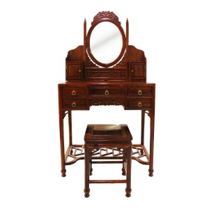 Solid Rosewood Dressing Table and Stool Single Mirror Natural Finish LK-120CL