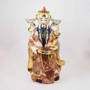 Porcelain Multicolored Fengshui FUK LUK SAU Represents Good Luck,  Authority, Youth and Immortality