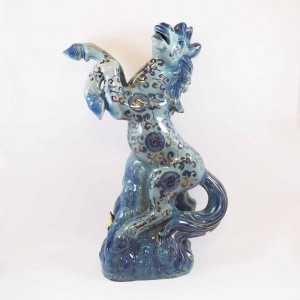 Fengshui Ceramic 1.8 Ft Galloping Horse in Victory Posture Blue Color