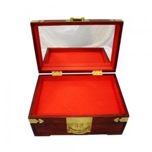 Oriental Rosewood jewelry Box with Mirror Top and Drawers for Jewels & Ornaments Longevity Sign On Dark Cherry Finish with Gold Brass Metal Design