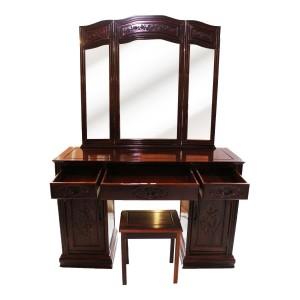Vintage Antique Dresser Vanity Table & Stool Trifold/Three 3 Panel Mirror Light Cherry Finish LK65-7300038P
