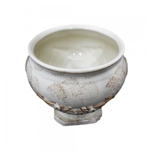 Handmade Porcelain Pedestal Fish Pot Bowl for Home Décor LK8B-8INB01