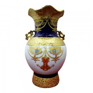 Handpainted Porcelain Flower Pot Vase with Blue and Golden Finish LKJB1-10V01