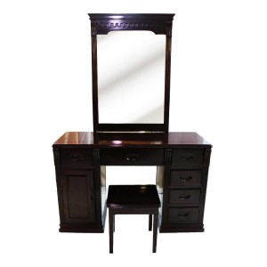 Solid Rosewood Single Mirror Dressing Table and Stool Dark Cherry Finish YS-636 DRT