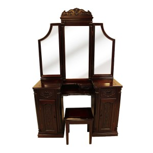 Solid Rosewood Vintage Dressing Table & Stool Foldable Mirrors Dark Red cherry YS-91