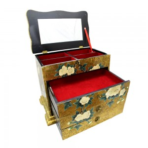 Oriental Lacquer Finish Jewelry Box with Flower and Birds Painting Gold & Green Color YSYDB01
