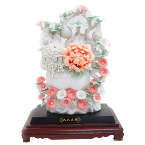 Porcelain Carving Plum Blossom Peony Rose Flower Statue with Glass Case - CPFJF