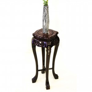 Solid Rosewood Handcrafted Curve Flower Stand with Mother of Pearls inlaid and Tiger Legs Dark cherry finish - LK 95-000254