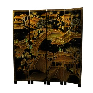 Solid Wood Ancient Chinese City Life 4 Panels Lacquer Partition Screen Black Golden - LK91-0001CC4