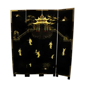 Solid Wood Ancient Traditional Chinese Women and Pagoda 4 Panels Lacquer Partition Screen Embossed in Mother of Pearls - LK91-0001CC4 01