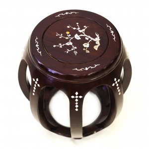 Solid Rosewood Large Drum Stool with Mother of Pearls Inlaid Dark Cherry - LK20/000554L