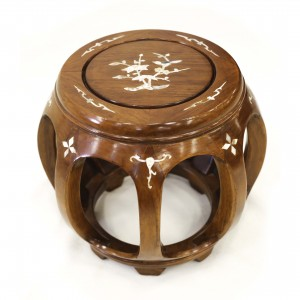 Solid Rosewood Small Drum Stool with Mother of Pearls Inlaid Natural - LPK DS